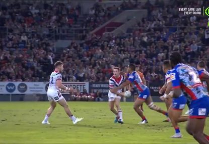 'What a catastrophe!': Roosters concede first try as Luke Keary gets flattened