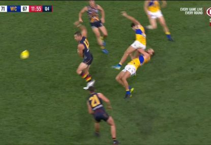 Andrew Gaff goes to bump Tex Walker, ends up cleaning up teammate