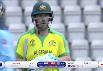 Aaron Finch out early against the Poms