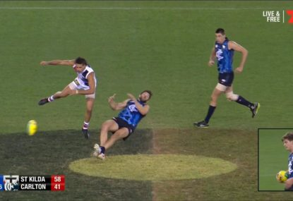 Saint sparks fiery exchange with big bump on Levi Casboult