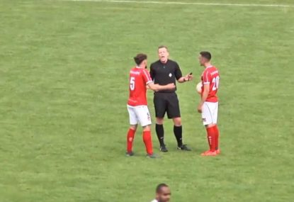 Referee scores a goal and awards it