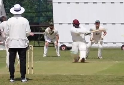 Rahkeem Cornwall lookalike gets caught nailing one to a sharp square leg fielder