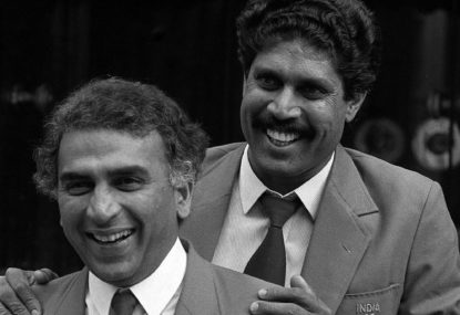 Sunil Gavaskar and Kapil Dev on tour with the Indian cricket team in 1986
