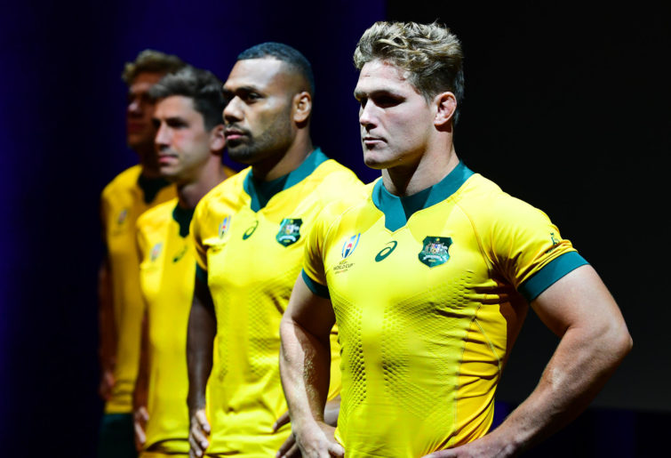 Michael Hooper models the Wallabies 2019 World Cup jersey
