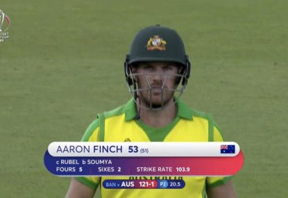 Aaron Finch gifts Bangladesh a regulation catch