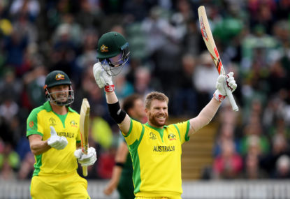 Warner's rich vein of form pushes Aussies to massive score