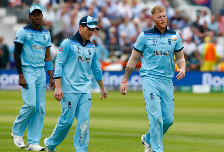 Eoin Morgan and Ben Stokes look annoyed.