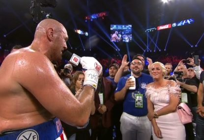 Yes, Tyson Fury really did serenade his wife after his second-round victory