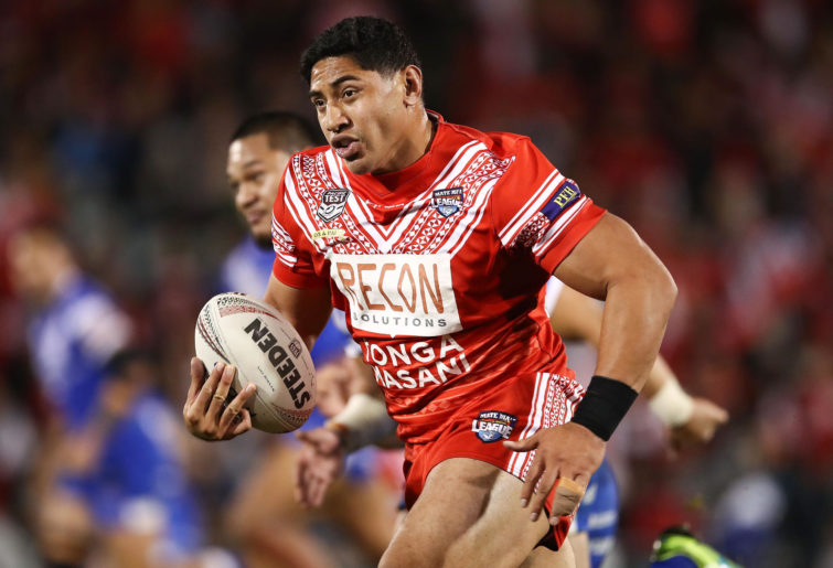 Jason Tauamlolo running with Tonga.