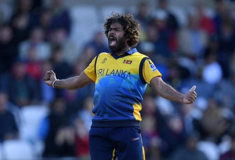 Lasith Malinga celebrates a wicket.