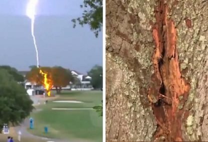 WATCH: The insane footage of lightning striking at the US Women's Open