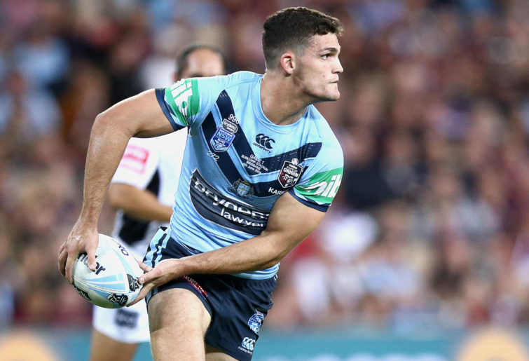 Nathan Cleary passes the ball during State of Origin.