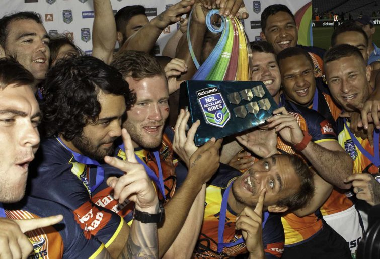 North Queensland Cowboys players celebrate winning the Rugby League NRL Auckland Nines