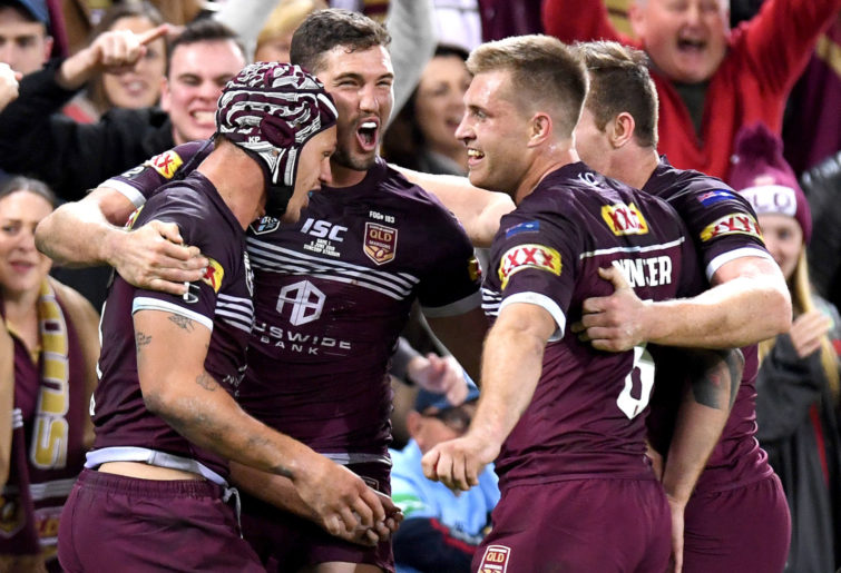 Queensland Maroons celebrate Origin win