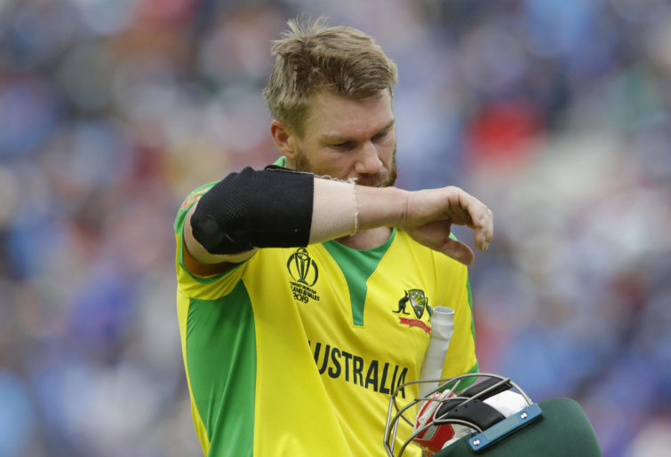 David Warner after being dismissed at the Cricket World Cup.