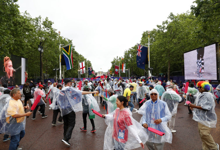 Fans dance during the ICC Cricket World Cup 2019 Opening Party