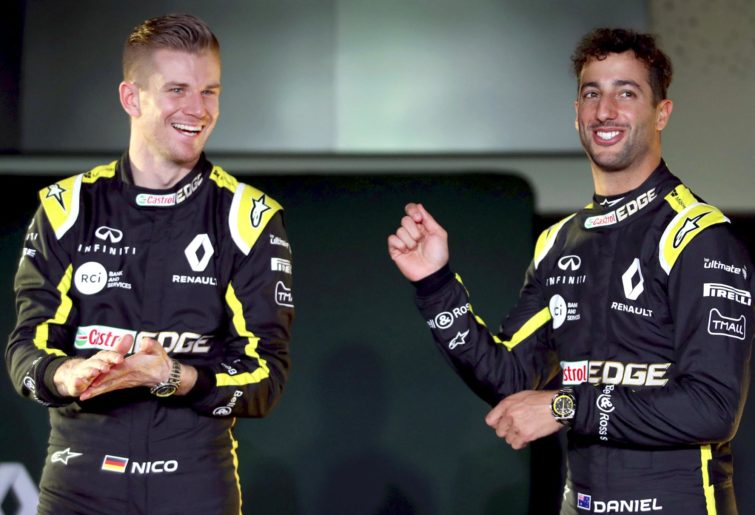 Nico Hulkenberg and Daniel Ricciardo at the 2019 Renault launch.