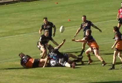 Was this speculative offload knocked on before the fullback snagged the pie?