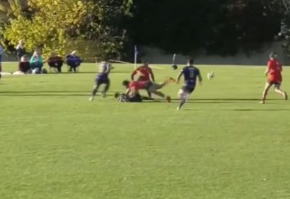 Tough as nails player cops huge tackle in order to grubber for a try