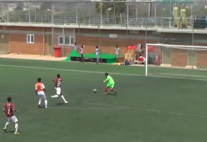 Defender's horrific OWN goal sends keeper into a fit