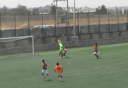 Keeper is embarrassingly fooled by bouncing long-range lob
