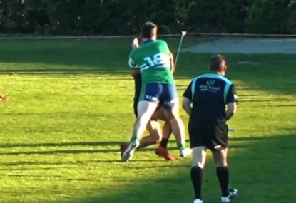 Hapless defender gets absolutely flattened by TWO consecutive Big Boppa bumps