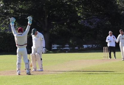 Umpire's 'out' signal is so subtle, the batsman marks his guard for the next ball