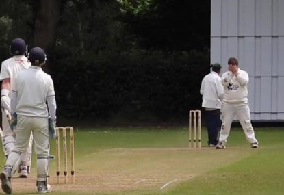 Disheartened bowler covers his eyes to avoid the shame of being hit for six