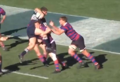 Pie-hungry prop is slammed back to reality by crunching tackle