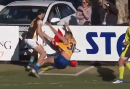 Rare Aussie Rules send off after player slams opponent into boundary fence