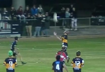 Fullback spills his lollies off towering bomb and swiftly pays the price