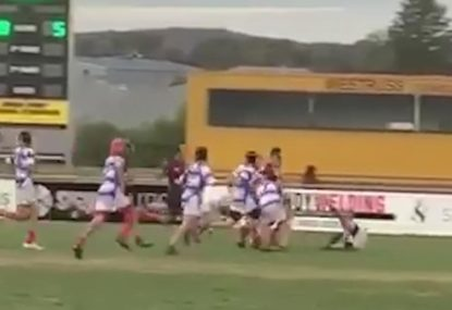 Enraged forward launches would-be tacklers for six in barnstorming run
