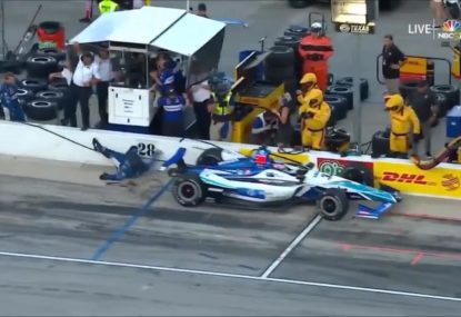 Scary scenes as IndyCar driver hits one of his own pit crew