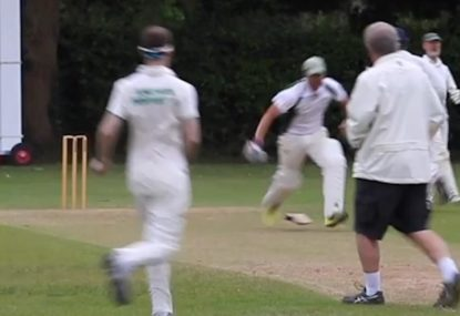 Bloke leaves his bat behind mid-pitch during frantic village leg-bye run