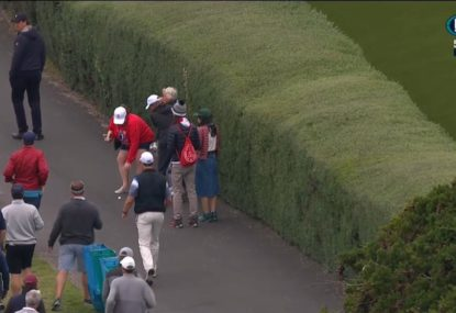 Woman narrowly avoids committing a cardinal sin at the US Open