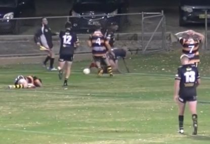 Local league player's comical tumble under the high ball gifts team try