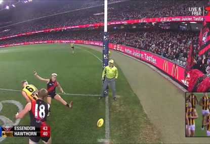 Bombers pair gift Hawthorn post-siren goal with hilarious blooper