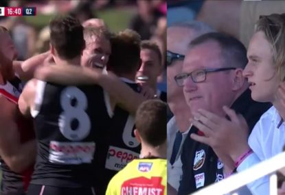 Saints debutant's dad's emotional reaction to his son's first goal is just brilliant