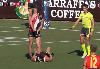 Dermott Brereton delights in Saints veteran's agony after cramping on the mark