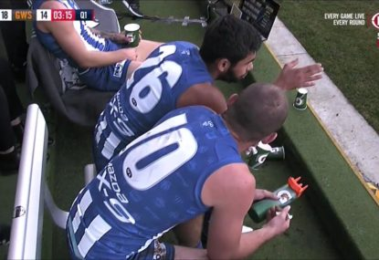 First-year Roo plays with fire, tries to give Ben Cunnington some tips on the bench