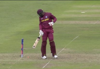 Oshane Thomas smashes stumps but remains at the crease
