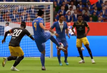 FIFA gamer launches vintage long range volley right into the net