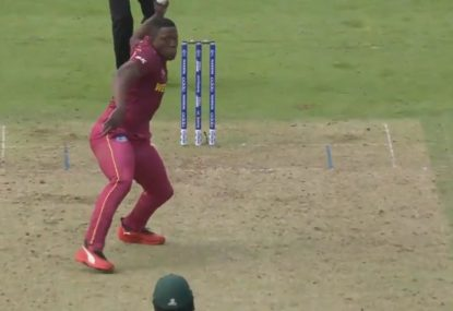 Sheldon Cottrell shows stunning reflexes to produce amazing run out off his own bowling
