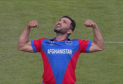 Afghanistan skipper shows off his immaculate pipes after sharp caught-and-bowled
