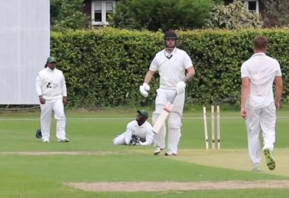 Keeper reels in flying bails to rub salt into batsman's wounds