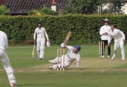 Bumbling batsman's bizarre shot slips through clumsy keeper's fingers
