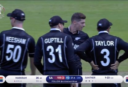 Mitchell Santner removes Amla with stunner of a delivery