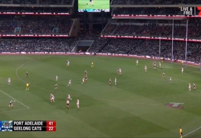 Hamish Hartlett's horrifically shanked torp somehow perfectly finds a teammate