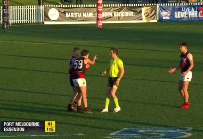 VFL ump admits mistake after awarding a mark - from a handpass!