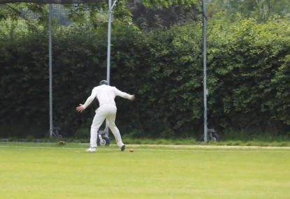 Fielder punishes bowler's full bunger with a dropped sitter